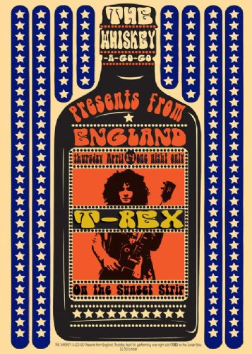 T REX - MARK BOLAN - ON THE SUNSET STRIP BLUE - canvas print, self adhesive poster, photo print